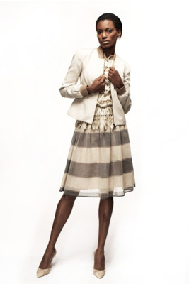 Beige Canvas Bowling Jacket & Striped Organza Party Skirt