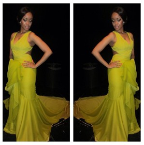 Dineo Moeketsi in KLuK CGDT Citrine Silk Chiffon Dress