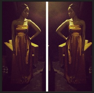 Dineo in Orange Stretch Silk Dutchess Strapless Bell dress from MBFWA12