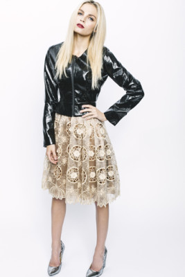 Onyx Faux Leather Shell Jacket & Amber Silk Organza Lace Party Skirt