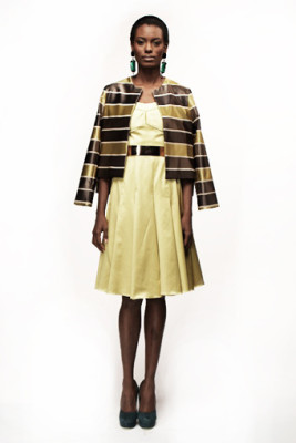 Stripe Sateen Cube Jacket & Citrine Duchess Margaret Dress