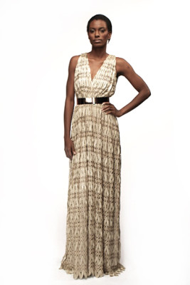 Gold Knit Lace Long Grecian Dress