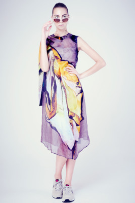 silk chiffon print angel dress