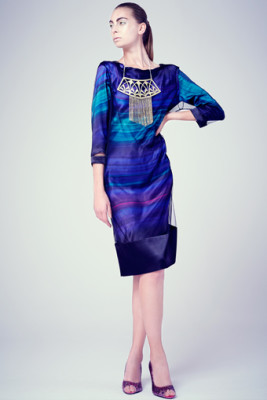 silk satin bias dress & black mesh andy tunic