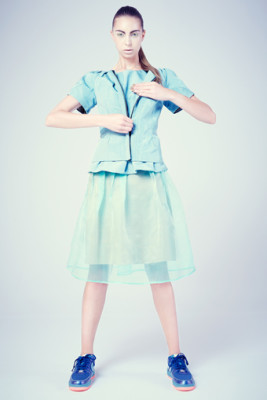 Mint Taffeta Irene Jacket & Tsili Top with Silk Organza Irene Party Skirt