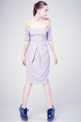 Lilac Lurex Knit Karen Tulip Dress