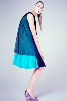 Teal & Black Satin & power Mesh Kiki Dress