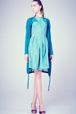 Green Taffeta Tsili Dress & Teal Chiffon Parka