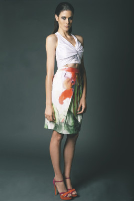 Orchid Silky Satin Twist & Tie Top worn with Amarylis Silk Cotton Tulip Skirt
