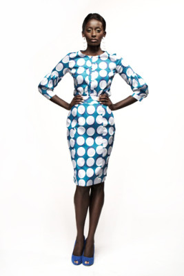 Blue & White Polka Dot Karen W Shirt & Irene Pencil Skirt