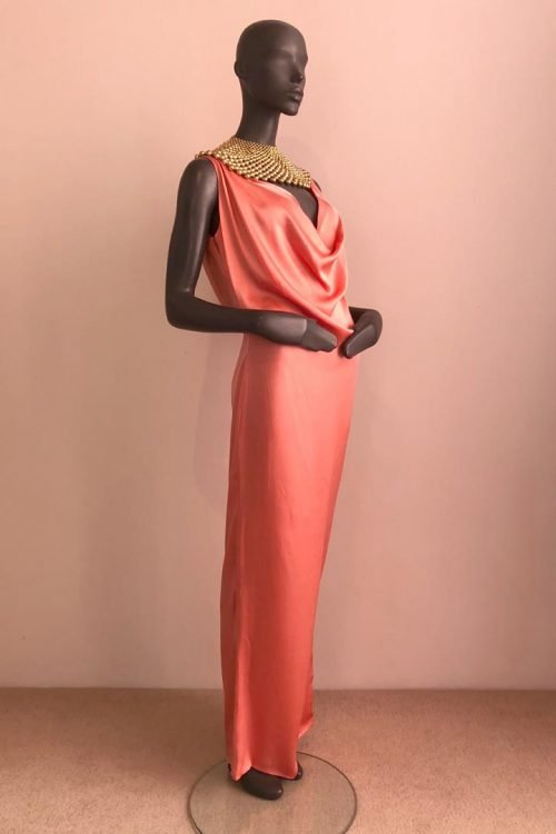 Back Drape Gown with African Beaded Necklace