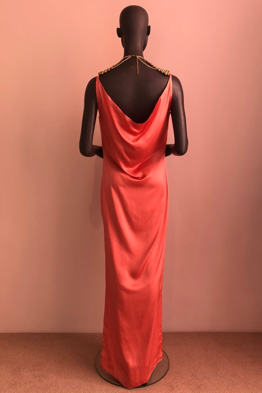 Back Drape Gown With African Beaded Necklace Kluk Cgdt