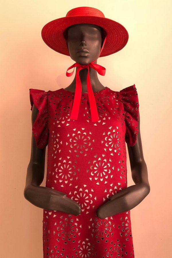 Inge Frill Sleeve Dress and Hat Close up