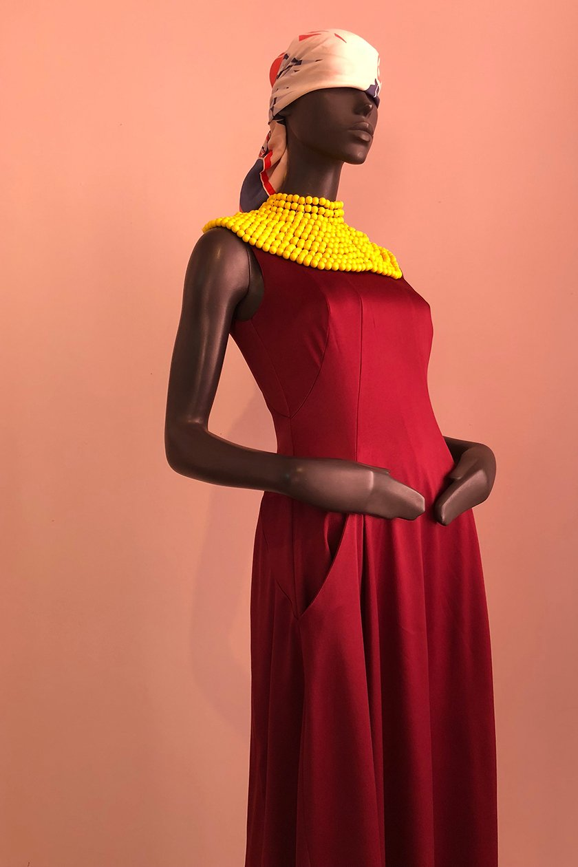 Joburg Gown with African Beaded Necklace Side on