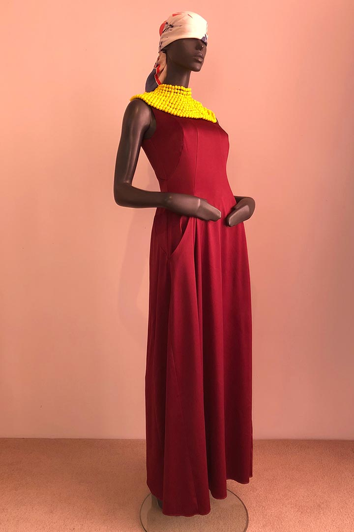 Joburg Gown with African Beaded Necklace