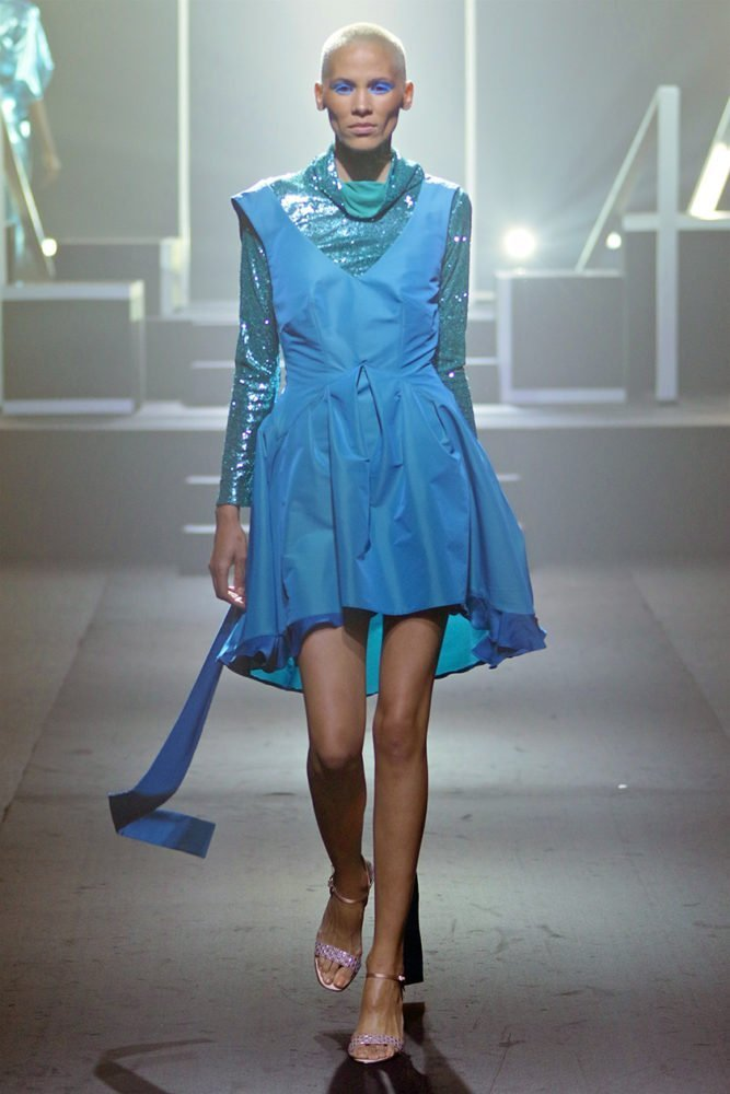 Peacock Dress with Poloneck 1