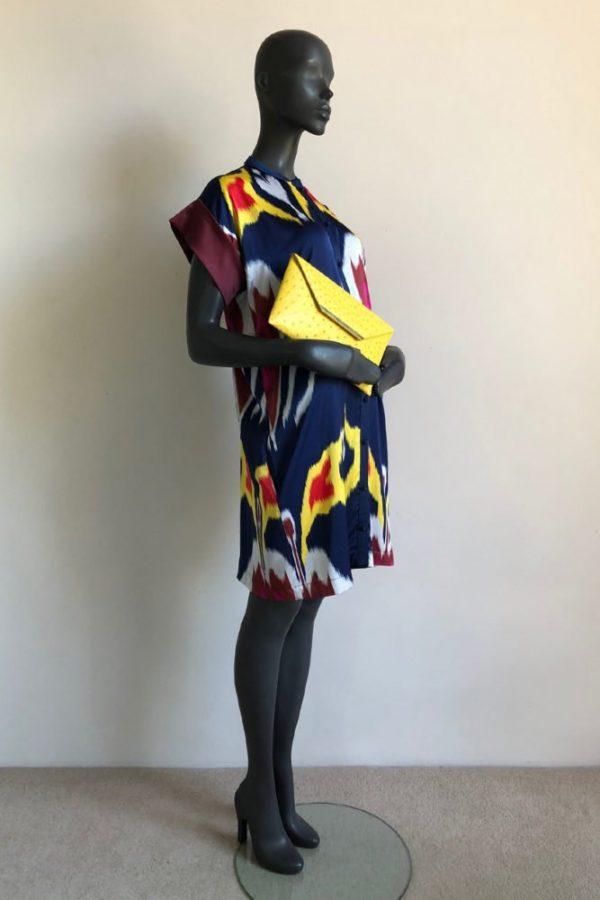 SQ SLEEVE SHIRT DRESS WITH CAPE COBRA ENVELOPE BAG
