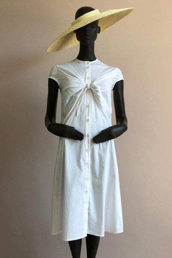TIE PLEAT FRONT SHIRT DRESS WITH CRYSTAL BIRCH HAT FRONT