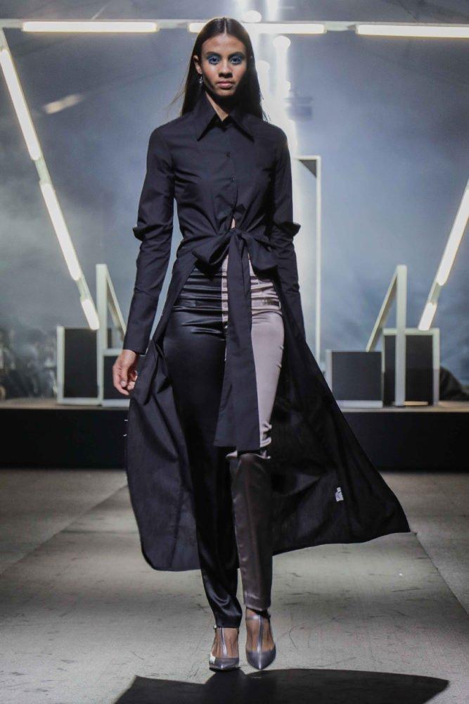 Top Stitch Tie Front Shirt Dress & Skinny Pants 1