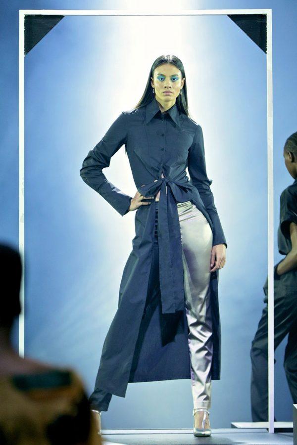 Top Stitch Tie Front Shirt Dress & Skinny Pants 2